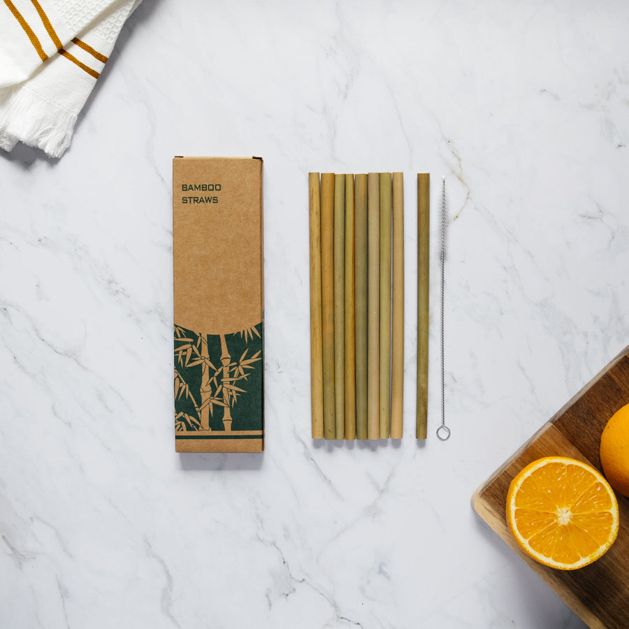 Set of 10 natural bamboo straws