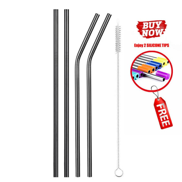 Set of 4 stainless steel straws - 4 colors