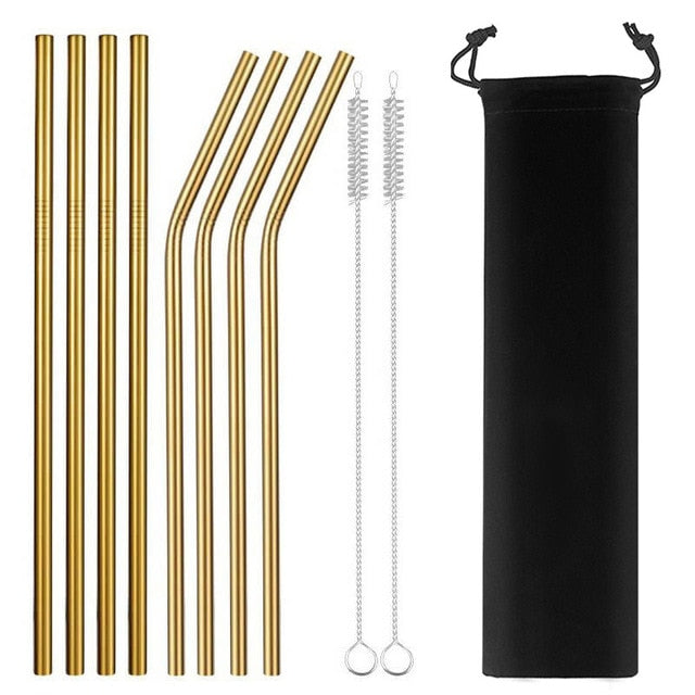 Set of 8 stainless steel straws - 4 colors