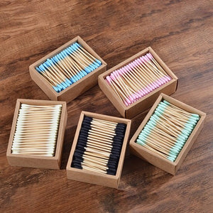 Pack of 5 Boxes of 200 bamboo cotton buds