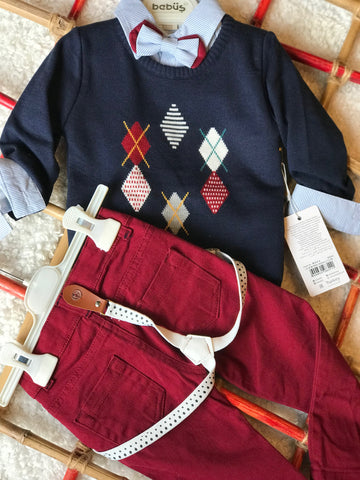 Long sleeve set-sweater, shirt and pants