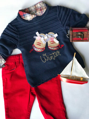 Adorable red/blue sweater set
