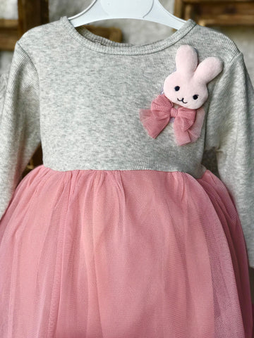 Long sleeve Bunny Pullover Mesh Dress