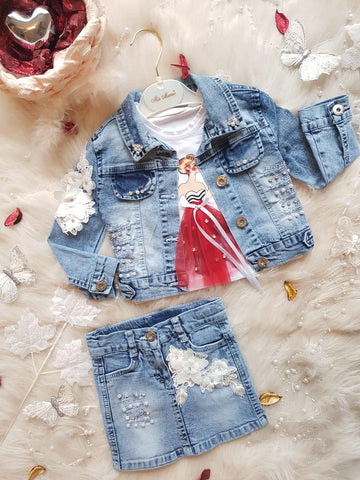 Jeans jacket and jeans skirt set