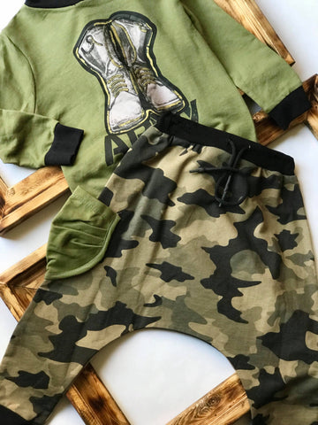 Army set with harem pants