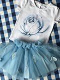Blue rose tutu set