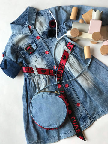 Jeans dress with purse