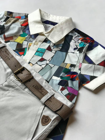 Colorful shirt with white collar and shorts