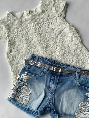Denim shorts lace top set