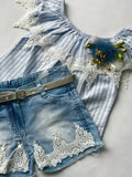 2 piece set with jeans and shoulder off shirt