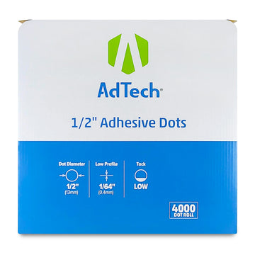 AdTech 5651 | Industrial Adhesive Dots | 1/2 inch, Low Tack | 4000 Dot Roll