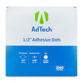 AdTech 5653 | Industrial Adhesive Dots | 1/2 inch, Super High Tack | 2000 Dot Roll