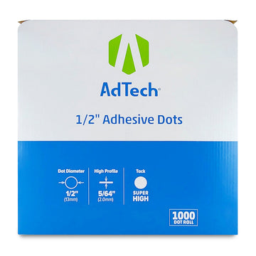 AdTech 5654 | Industrial Adhesive Dots | 1/2 inch, Super High Tack | 1000 Dot Roll