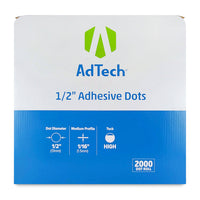 AdTech 5652 | Industrial Adhesive Dots | 1/2 inch | High Tack| Medium Profile | 2000 Dot Roll