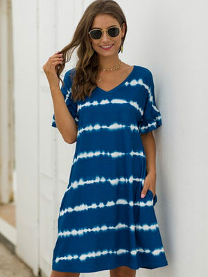 Boho V-neck Tie Dye Dress