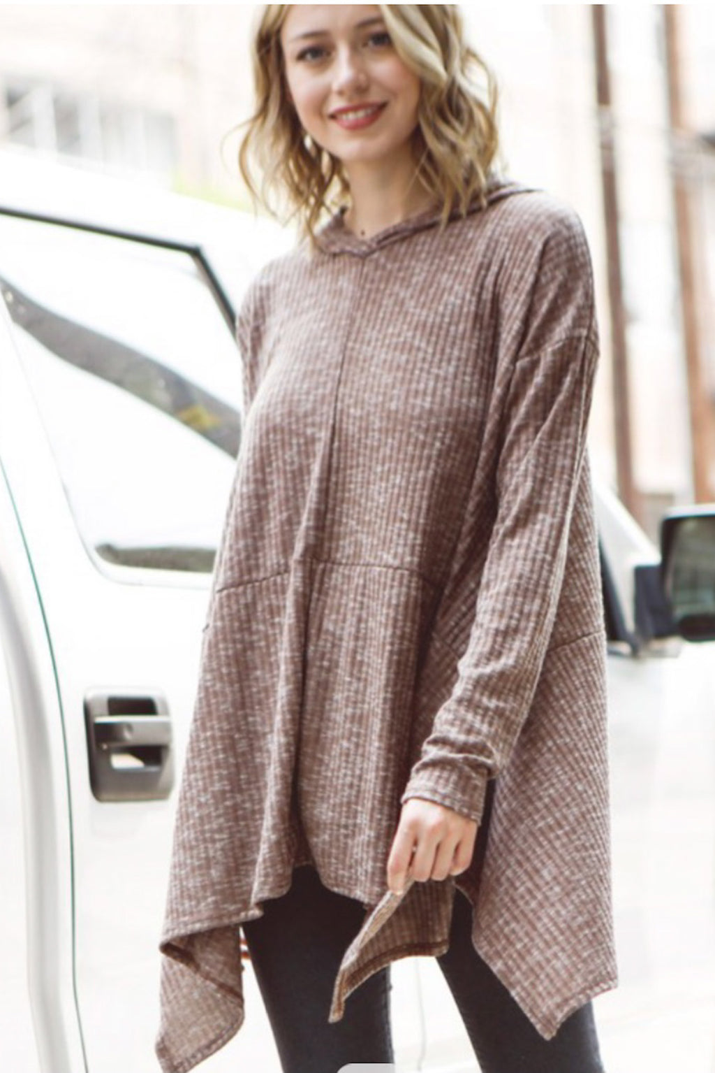 At Ease Asymmetrical Hooded Tunic