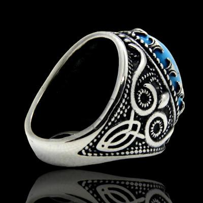 bague homme pierre turquoise royaume azur dos
