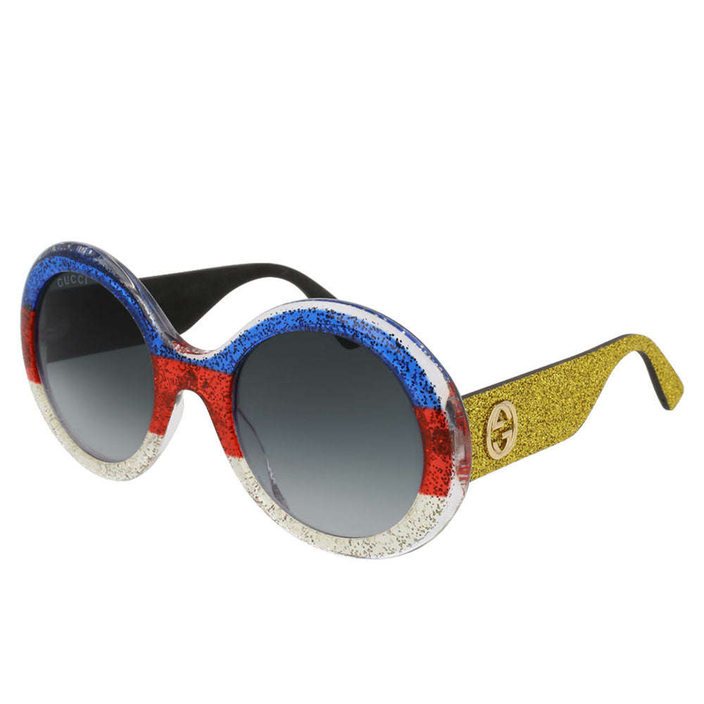 Gucci GG0101S 006 Multi-Color/Gold Sunglasses Grey Gradient Lens