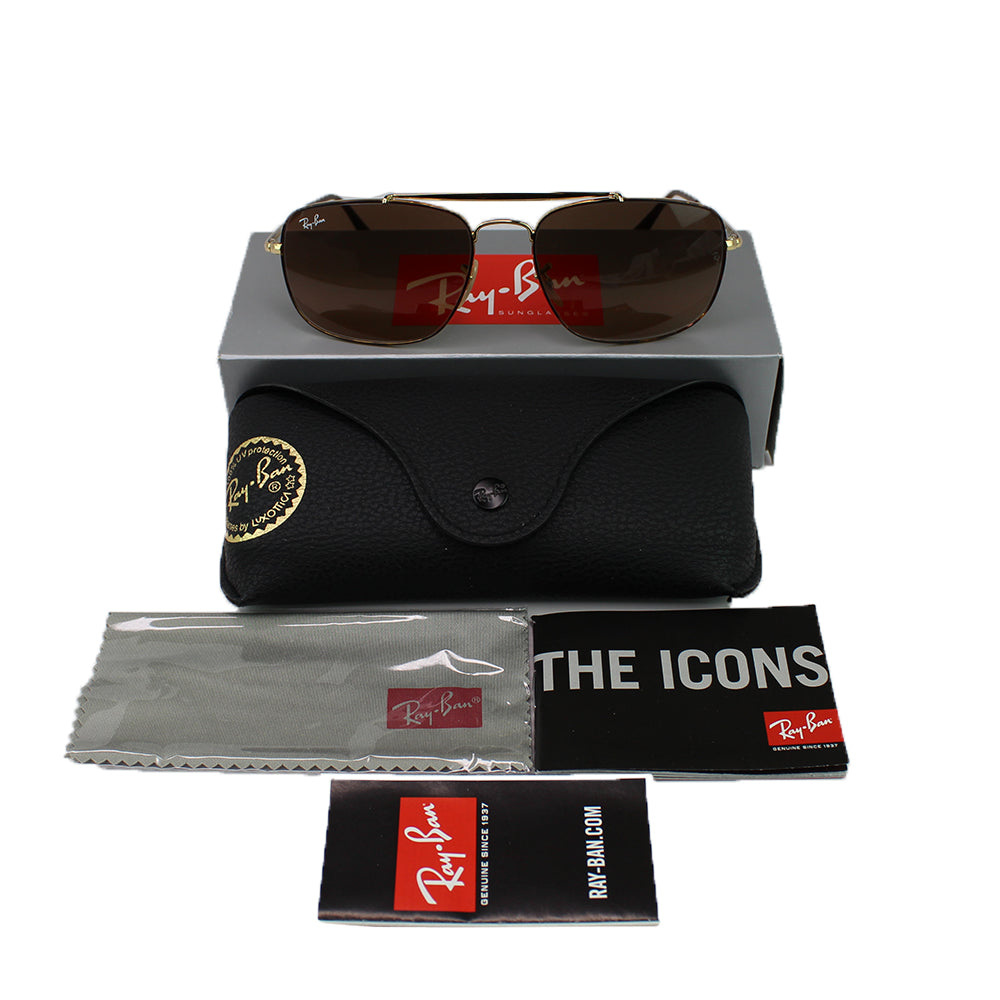 Authentic Ray-Ban RB3560 910443 Colonel Unisex Sunglasses Brown Gradient Lens