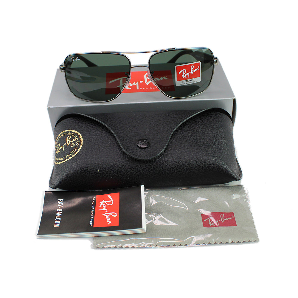 Authentic Ray-Ban RB3483 00471 Unisex Sunglasses Gunmetal Frame Dark Green Lens