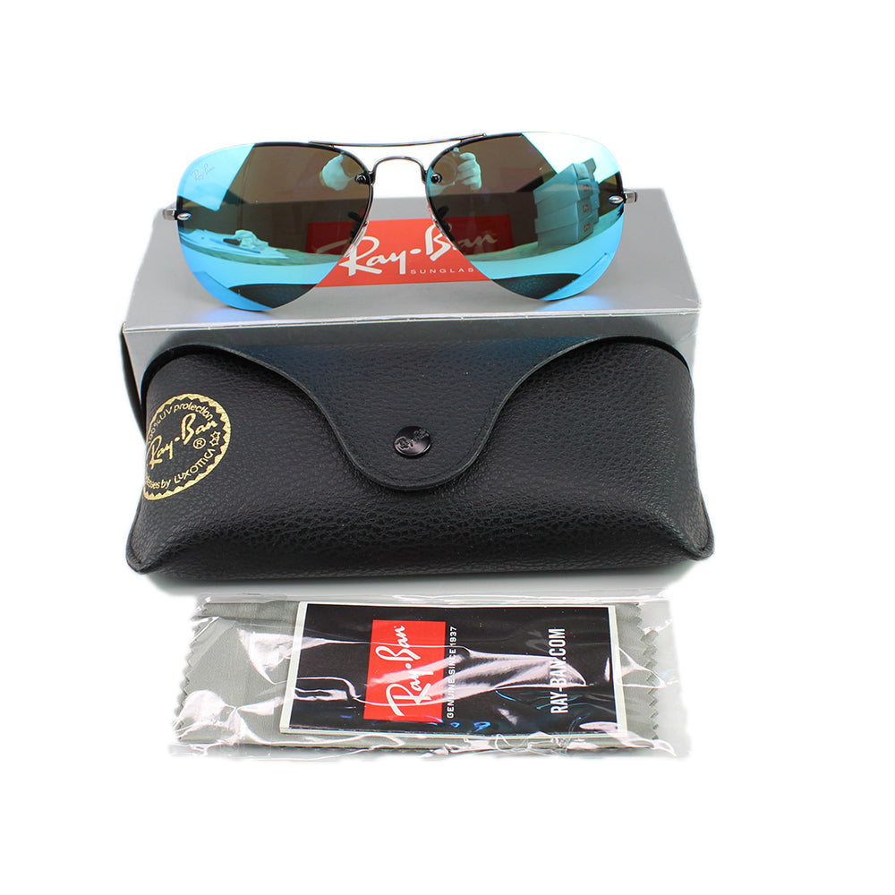 New Authentic Ray-Ban RB3449 004/55 59 Men Sunglasses Blue Mirrored Lens