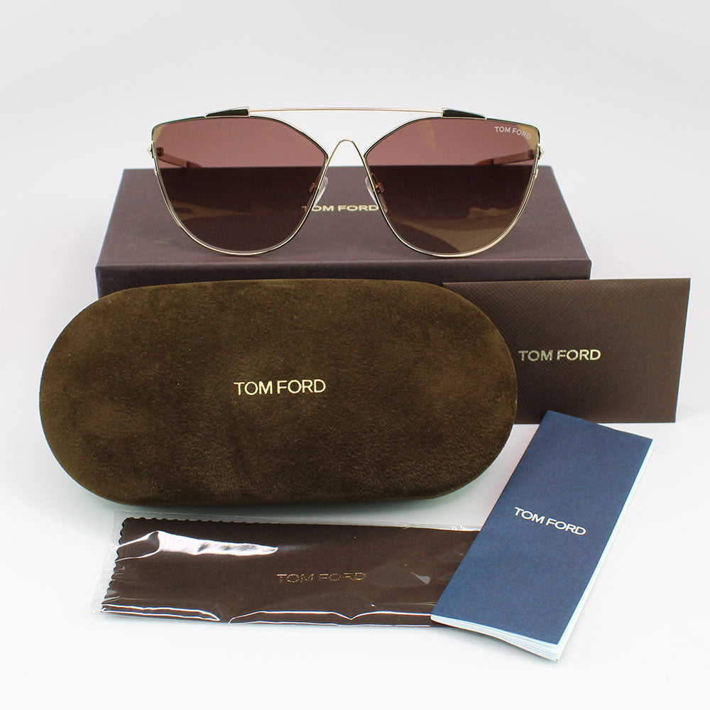New Authentic Tom Ford FT0563 28G Jacquelyn Women Sunglasses Brown Mirrored Lens