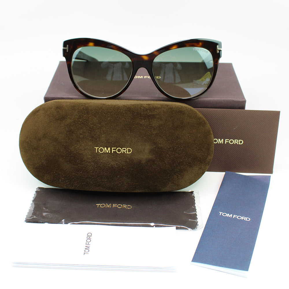 New Authentic Tom Ford FT0430 52P 56 Lily Women Sunglasses Green Gradient Lens