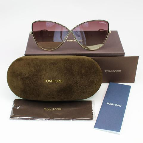 New Authentic Tom Ford FT0569 28Z 65 Elise Women Sunglasses Pink Gradient Lens