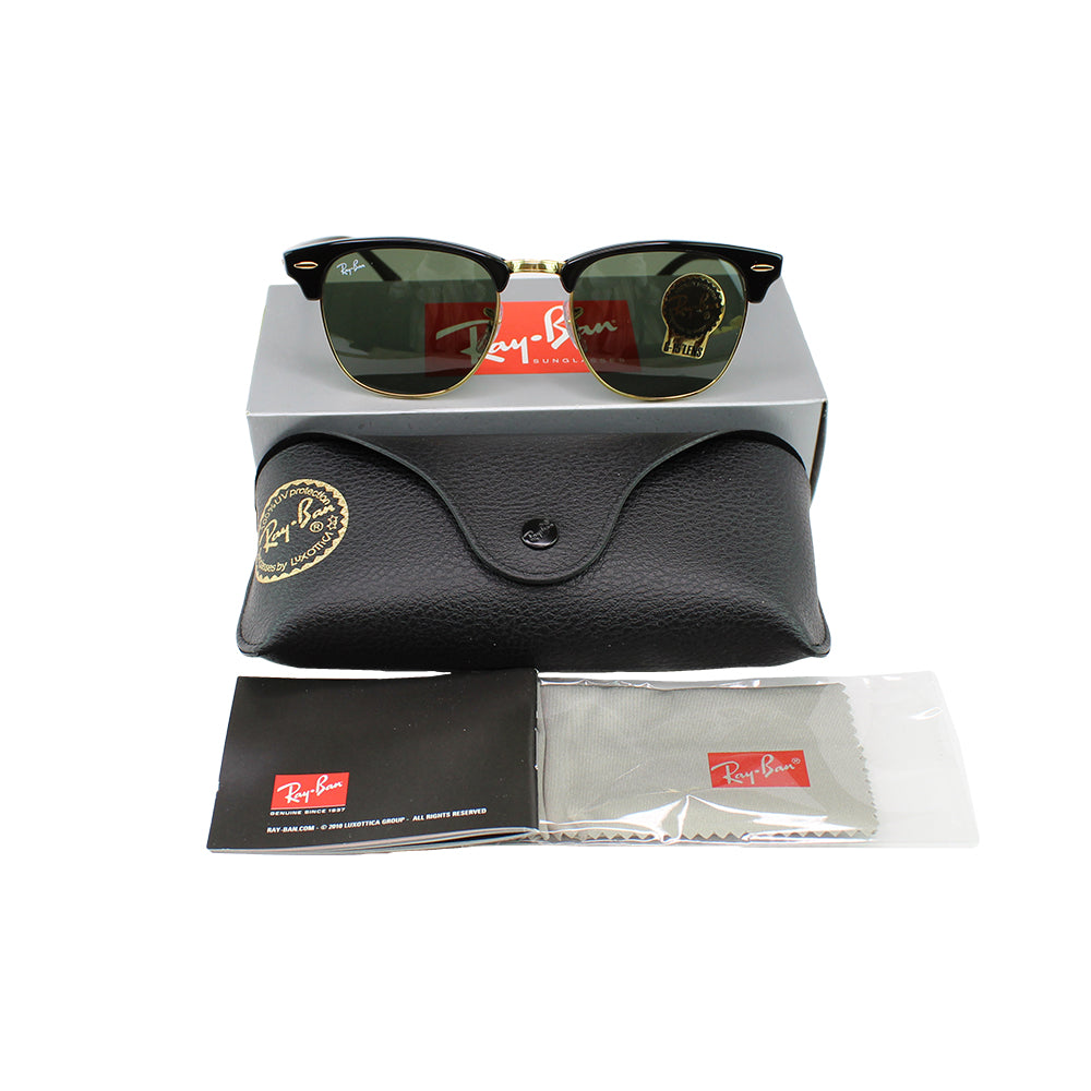 New Authentic Ray-Ban RB3016 W0365 Clubmaster Sunglasses Green Classic G-15 Lens