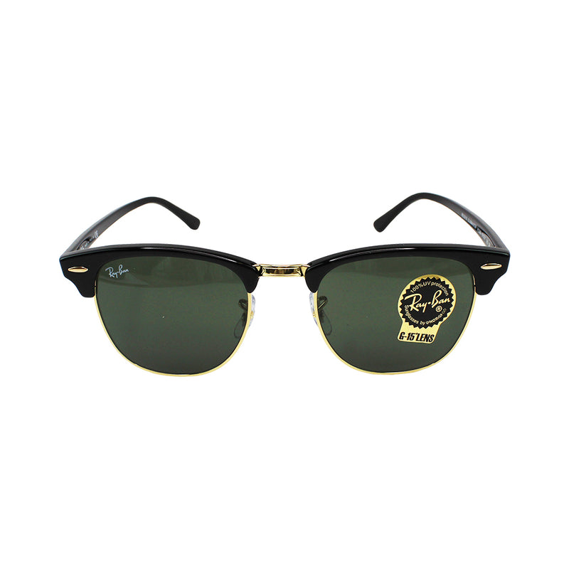 New Authentic RB3016 W0365 Ray-Ban Clubmaster Black Frame Sunglasses Green Lens
