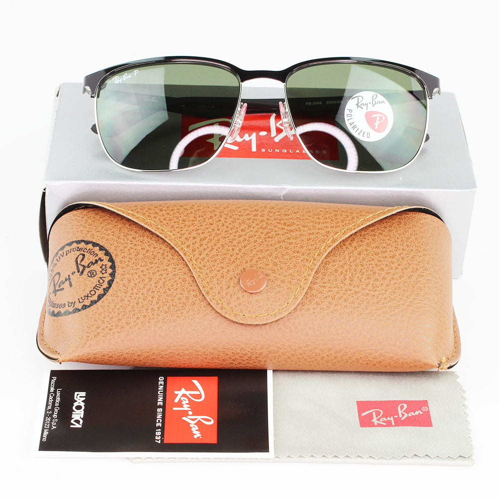 New Authentic Ray-Ban RB3569 90049A Sunglasses Green Polarized Lens