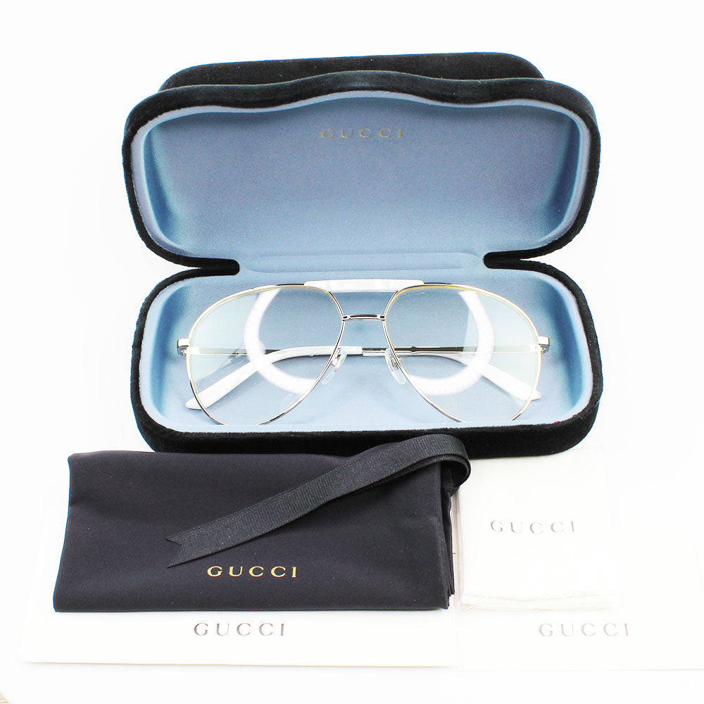 New Authentic Gucci GG0242S 008 Sunglasses Transparent White Lens