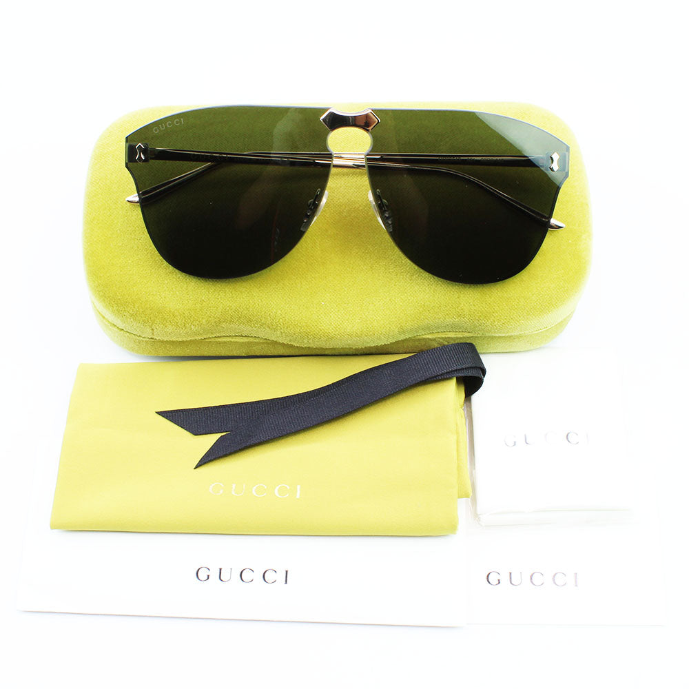 New Authentic Gucci GG0354S 001 Gold Frame Sunglasses Grey Lens