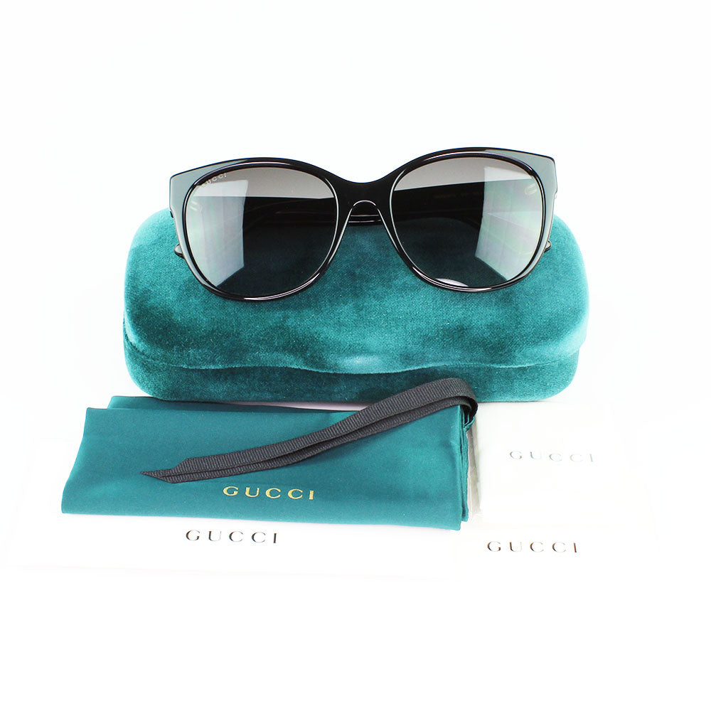 New Authentic Gucci GG0097S 001 Sunglasses Gray Gradient Lens