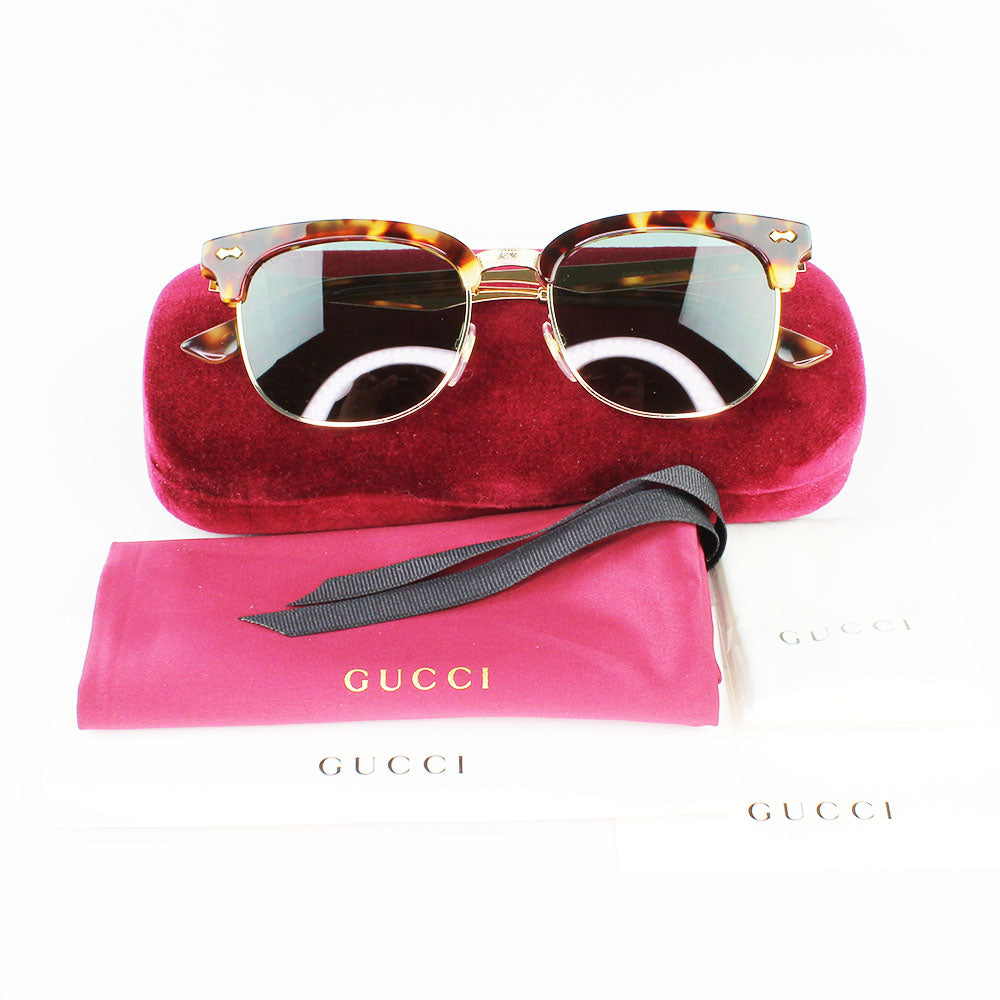 New Authentic Gucci GG0051S 002 Gold/Havana Frame Sunglasses Blue Lens