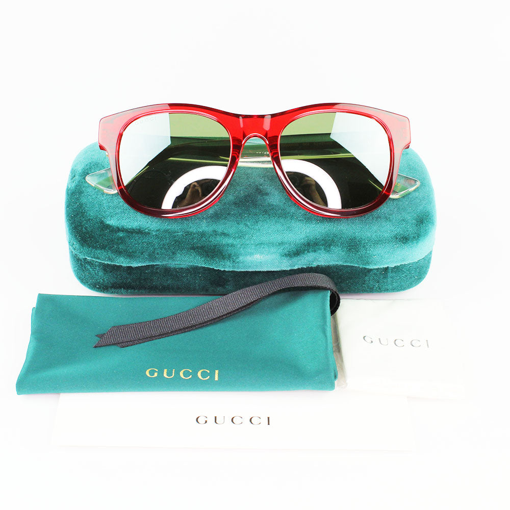 New Authentic Gucci GG0003S 004 Sunglasses Green Mirrored Lens