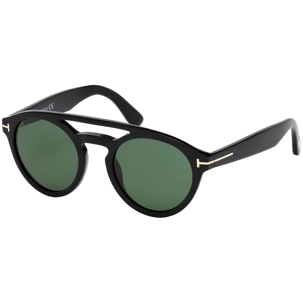 New Authentic Tom Ford FT0537 01N Clint Sunglasses Green Lens
