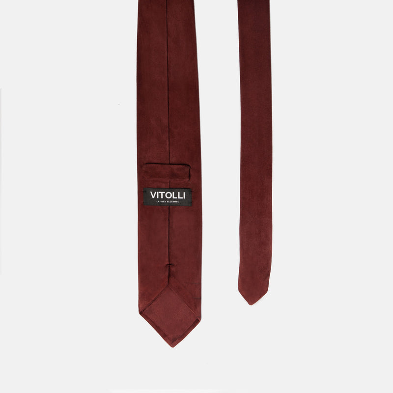 Red Suede tie, Suede necktie handmade in Italy. back picture. Vitolli Tie Vino Rosso