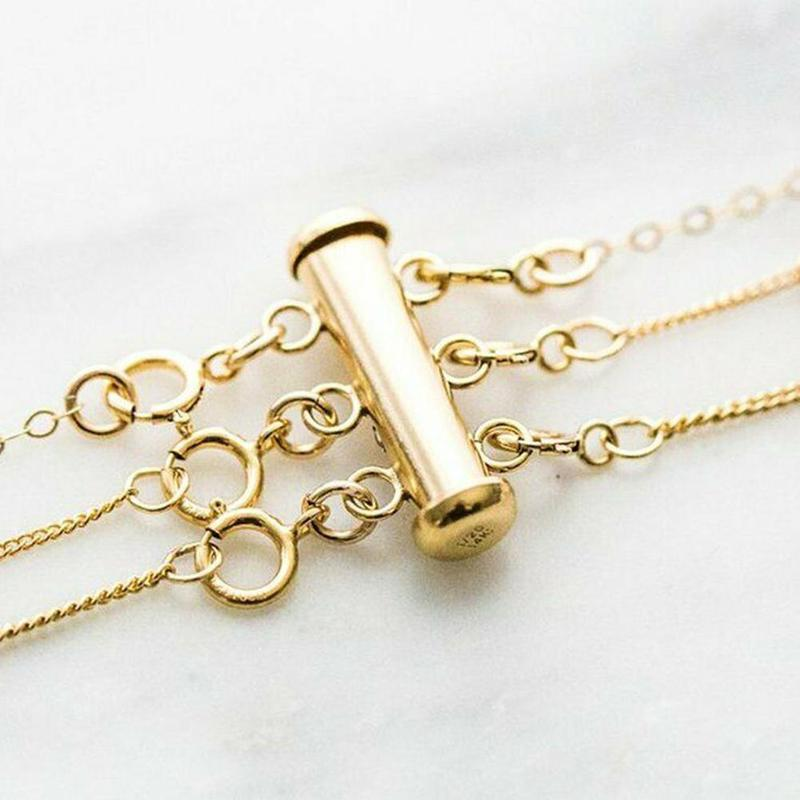 no more tangle gold Layering magic! no more mess silver,Rose gold Layered necklace spacer clasp