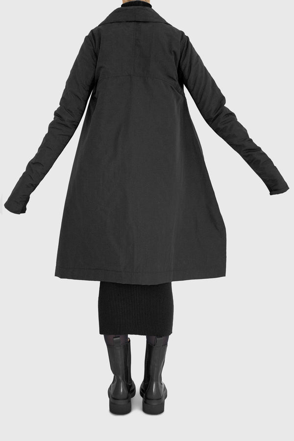 Maika Asymmetric cut funnel neck coat