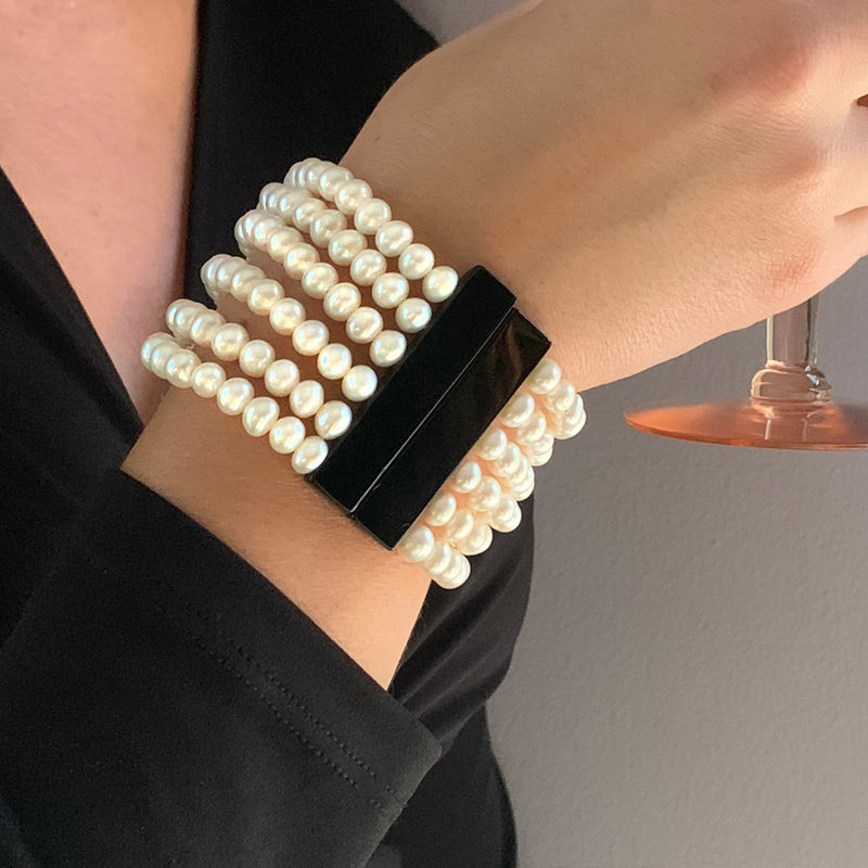 Art Deco Pearl and Agate Bracelet