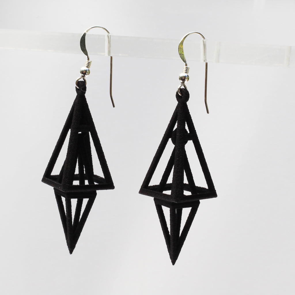 Pyramid 3D Printed Earrings Black