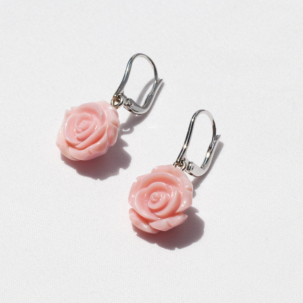 Muriel Conch Shell Rose Earrings