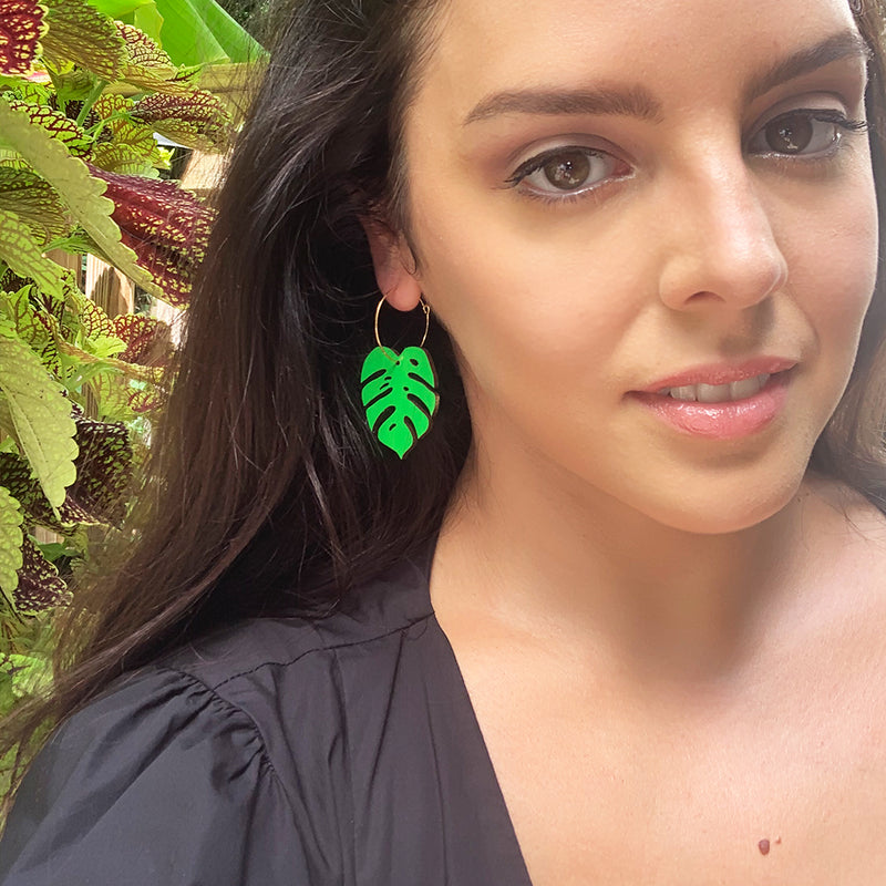 Green Monstera Leaf Earrings
