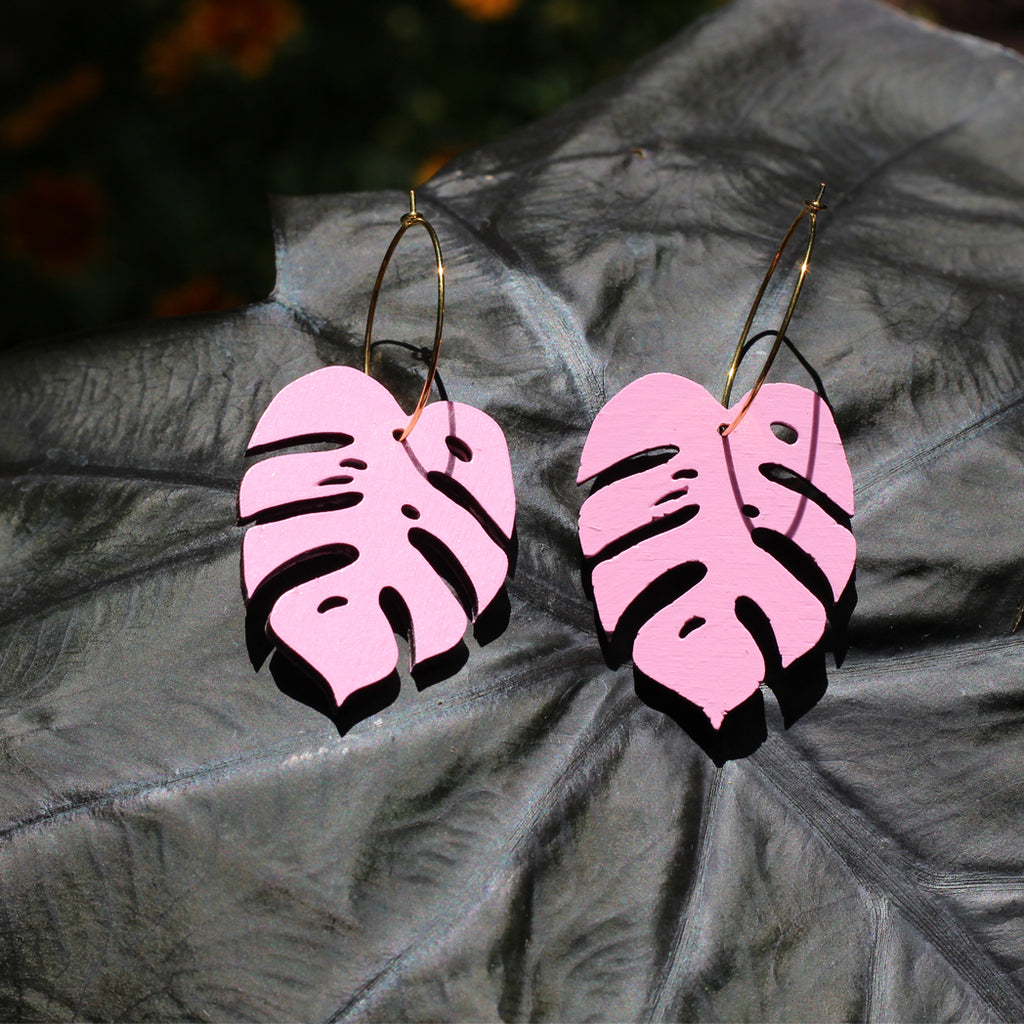 Pink Monstera Leaf Earrings