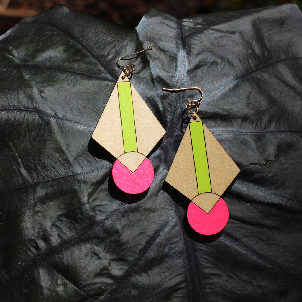 Neon Art Deco Earrings