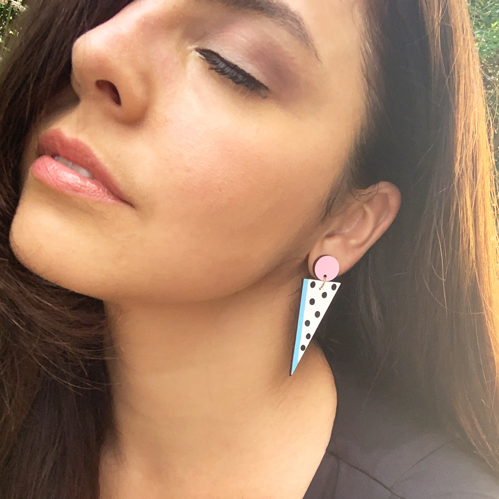 80s Pastel Triangle Earrings