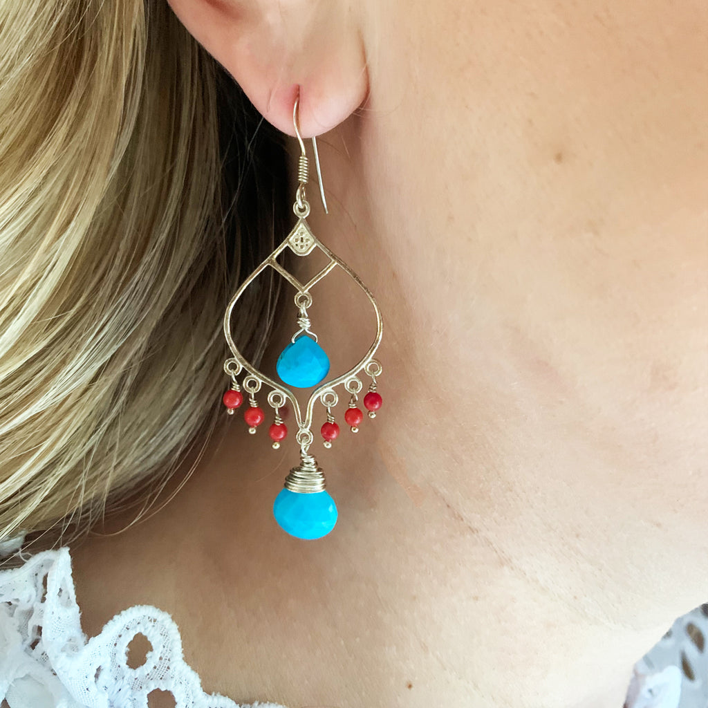 Gloria Coral and Turquoise Earrings