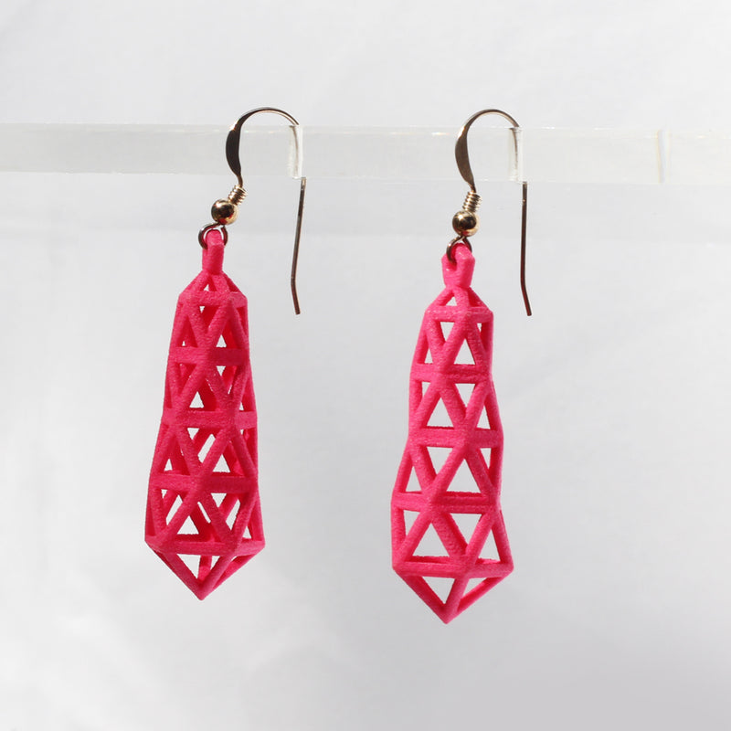 Truss 3D Printed Earrings Hot Pink