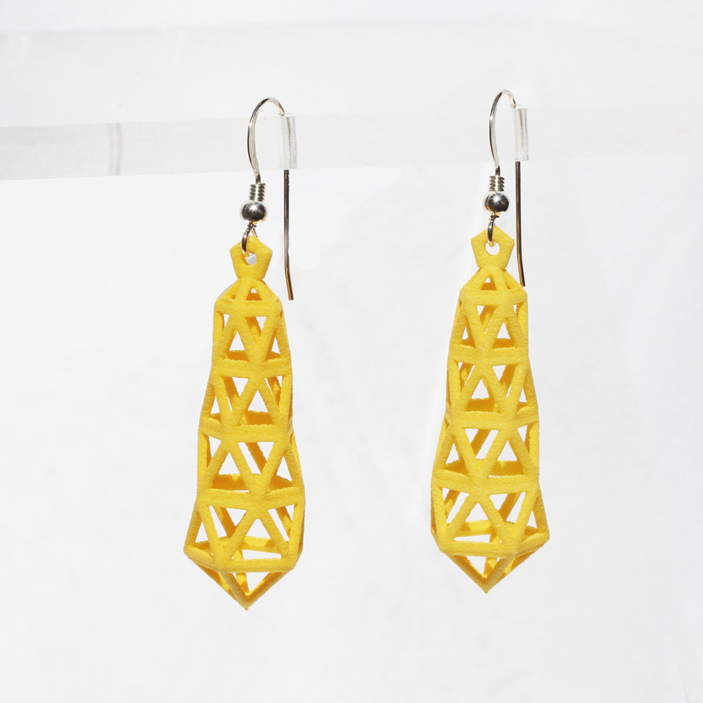 Truss 3D Printed Earrings Yellow